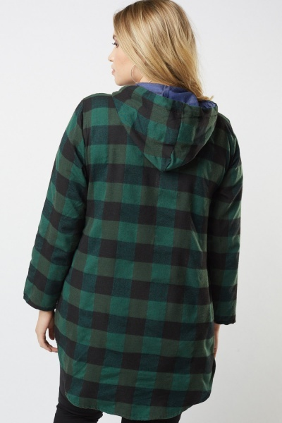 Checkered Hooded Overshirt