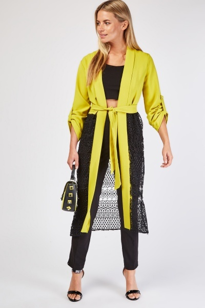 Crochet Panel Long Line Jacket