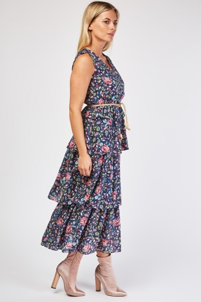 Floral Ruffle Tiered Dress
