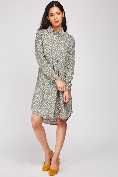 Flower Printed Shirt Dress
