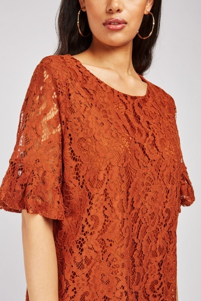 Frilly Sleeve Brown Lace Dress