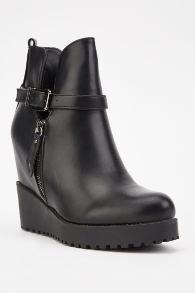 Buckled Side Low Wedge Boots