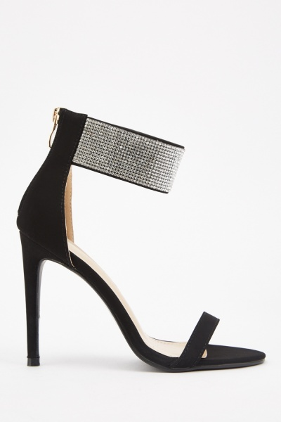 Encrusted Ankle Heeled Sandals