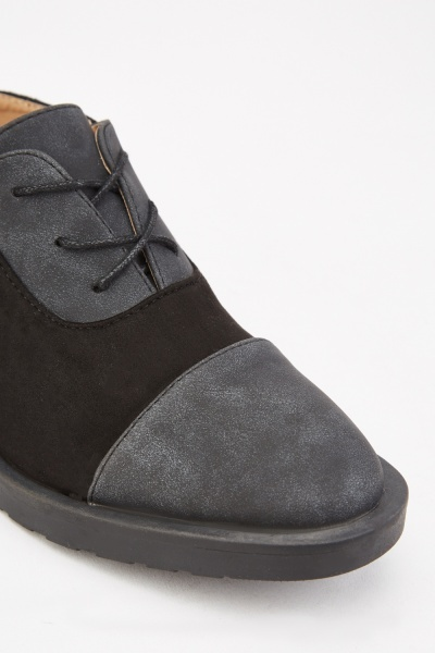 Lace Up Suedette Contrast Shoes