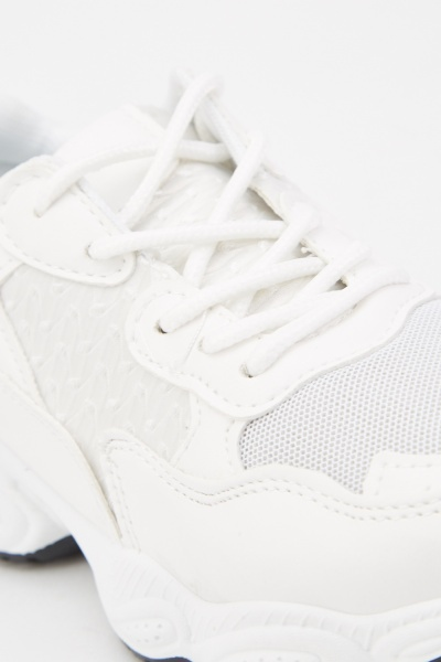 Perforated Lace Up Chunky Trainers