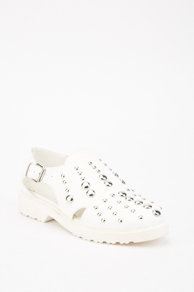 Studded Cut Out Side Buckled Shoes