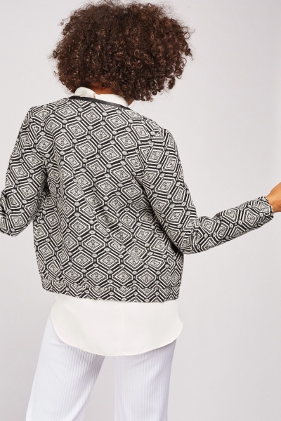 Collarless Aztec Pattern Jacket