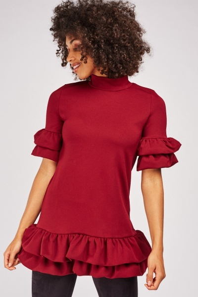 High Neck Tiered Top
