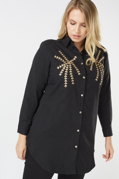 Metallic Thread Embroidered Shirt