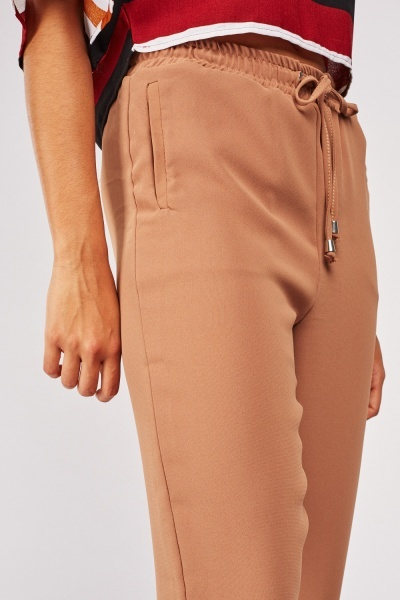 Plain Drawstring Waist Tapered Trousers