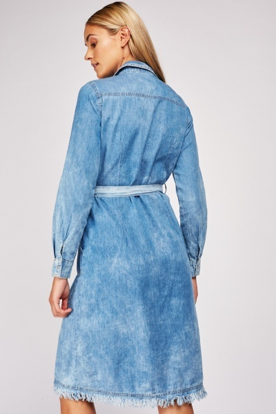 Raw Edge Denim Shirt Dress