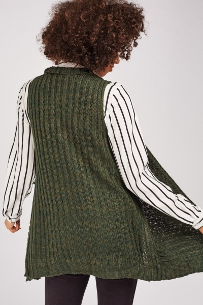 Sleeveless Waterfall Knit Cardigan