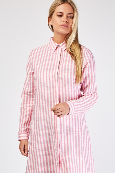 Vertical Stripe Shirt Dress
