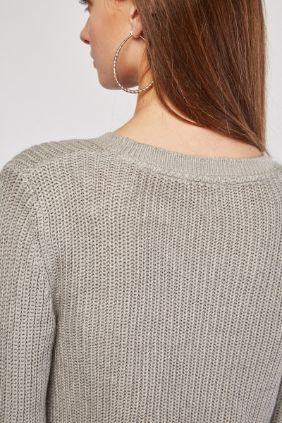 Chunky Herringbone Knit Jumper