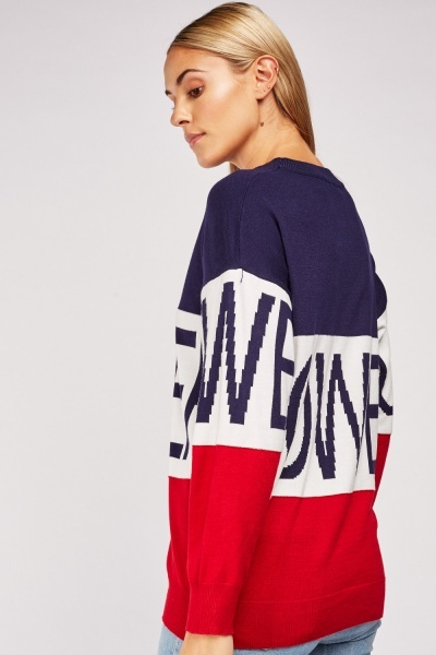 Colour Block Logo Knit Jumper
