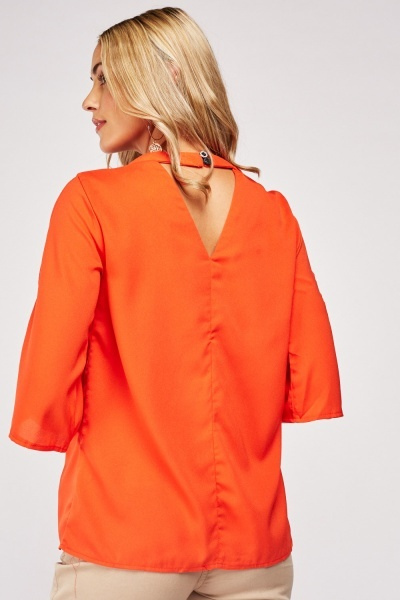 Coral Slit Sleeve Top