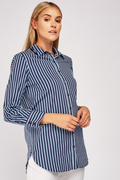 Striped Round Hem Shirt
