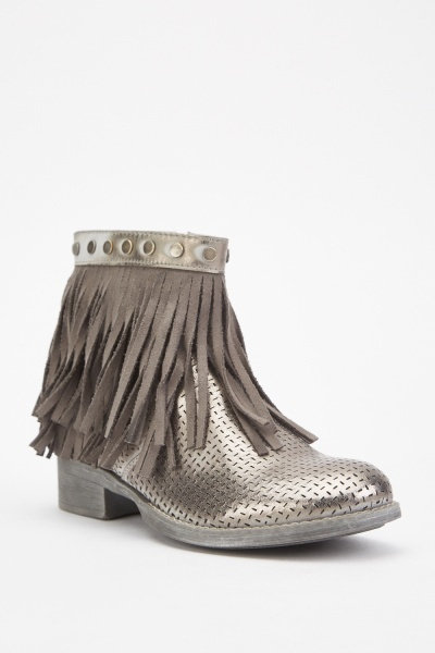 Laser Cut Metallic Fringed Boots