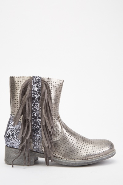 Metallic Glitter Encrusted Fringed Boots