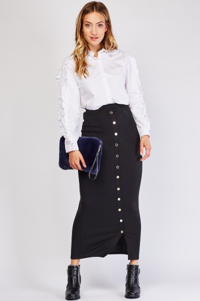Button Trim  Maxi Tube Skirt