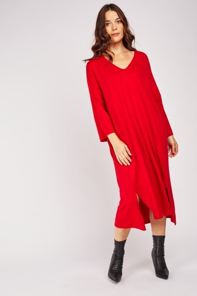 Double Slit Front Slouchy Dress