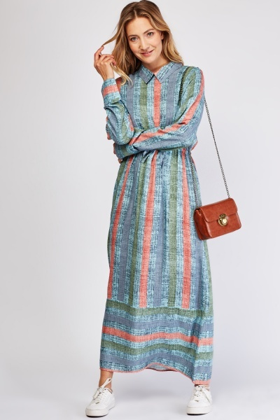 Striped Contrast Maxi Collared Dress