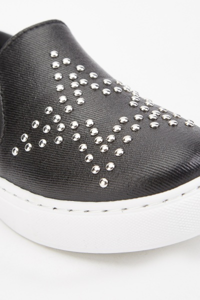 Studded Star Faux Leather Plimsolls