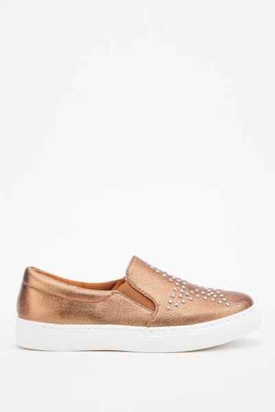 Studded Star Metallic Plimsolls