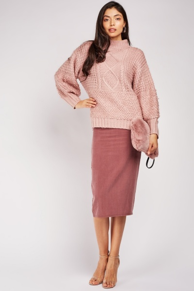 Mauve Midi Pencil Skirt