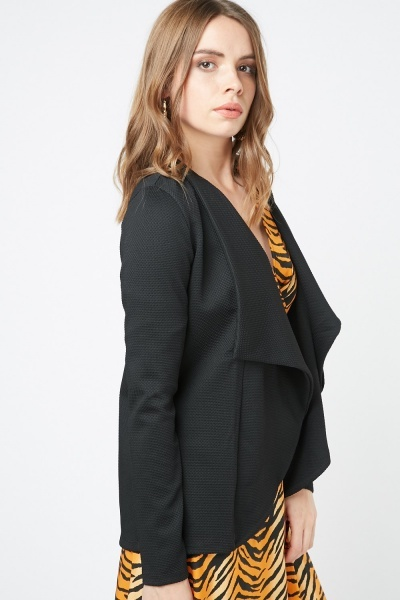 Black Waterfall Front Blazer