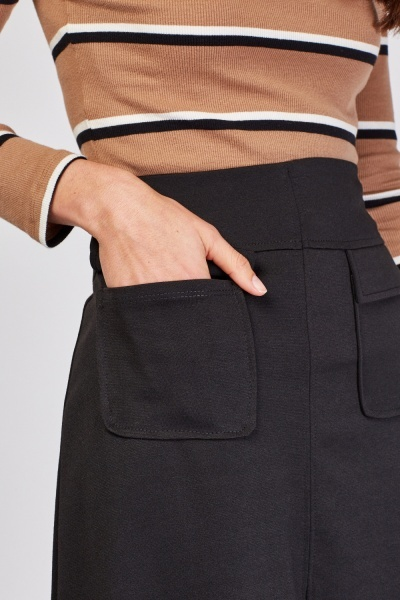 Flap Pocket Front A-Line Skirt