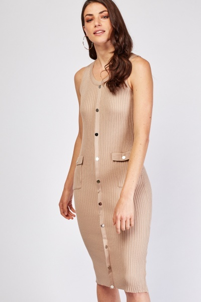 Ribbed Button Front Sleeveless Dress