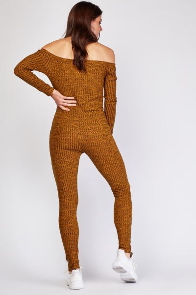 Ribbed Knit Off Shoulder Jumpsuit