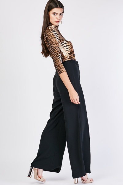 Black Formal Wide Leg Trousers