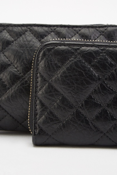 Quilted Clutch Bag And Purse Set