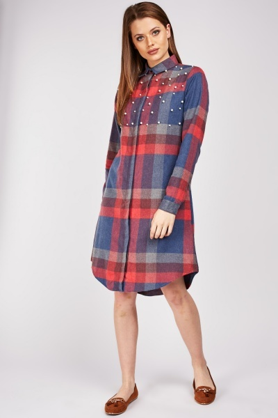 Faux Pearl Embellished Checkered Shirt Dress