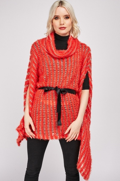 Cowl Neck Loose Knit Poncho