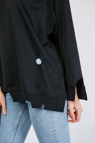 Ditsressed Cut Out Slouchy Sweatshirt