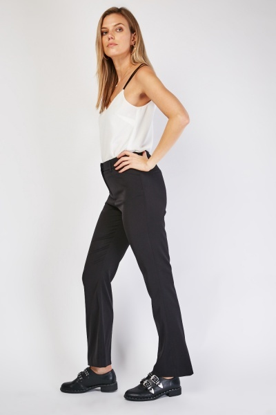 Straight Fit Black Trousers