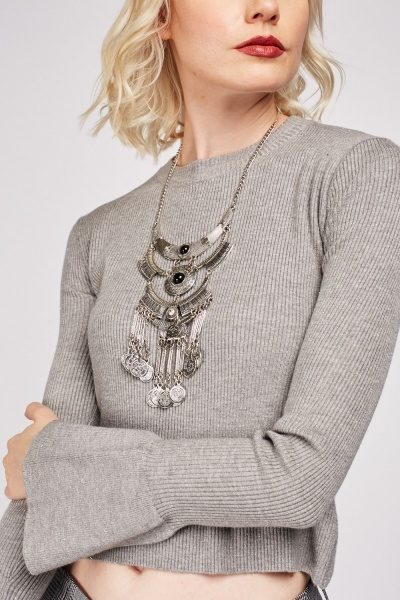 Shimmery Bell Sleeve Crop Rib Top