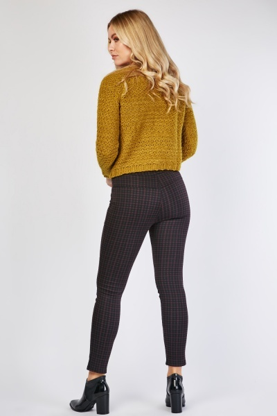 Checkered Skinny Fit Trousers
