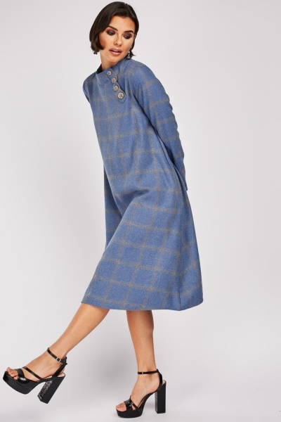 Grid Check Midi Smock Dress