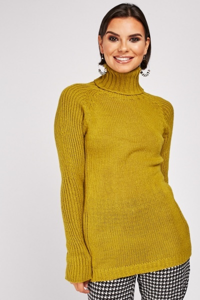 Turtle Neck Lime Knit Jumper