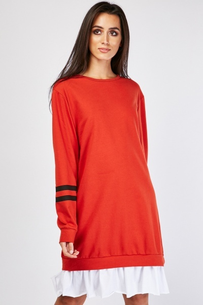 Contrasted Hem Jumper Dress