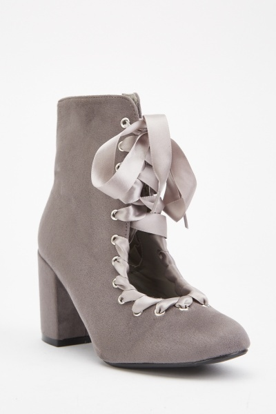 Open Front Ribbon Lace Boots