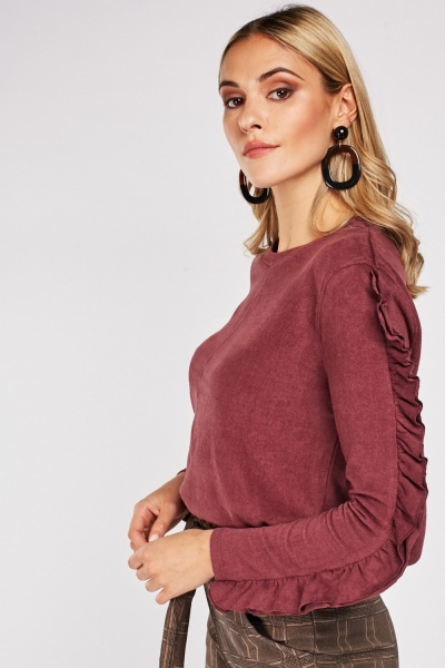 Jersey Knit Ruffle Sleeve Top