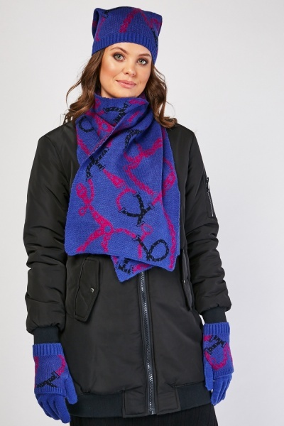 Chain Pattern Hat, Scarf And Glove Set