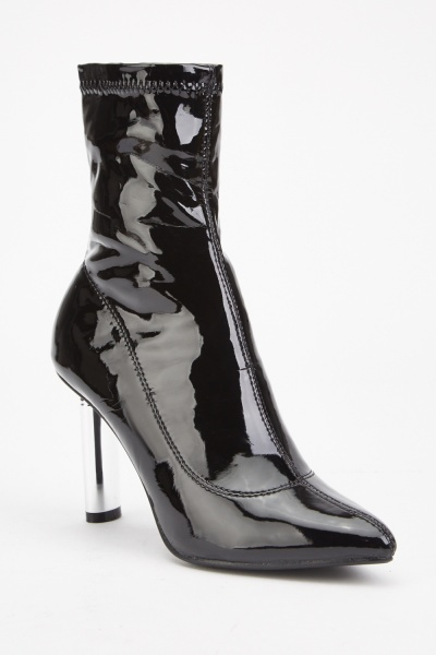 PVC Heeled Ankle Boots