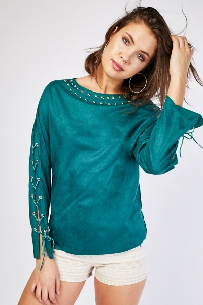 Studded Neck Faux Suede Top