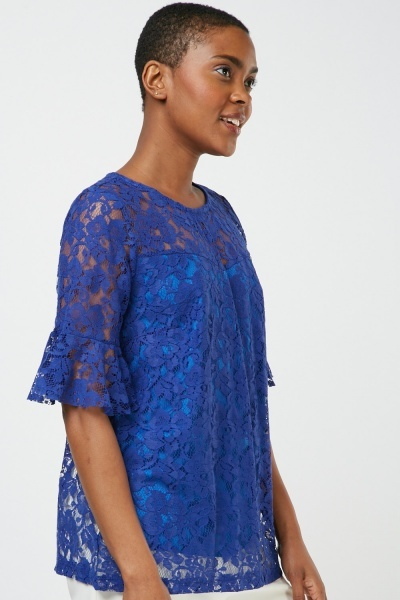 Frilly Sleeve Lace Top